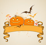 Pumpkins and vintage banner