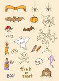 Halloween doodle design elements