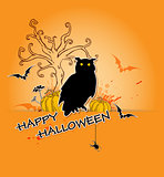 Halloween background with owl and tree