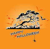 Halloween  background with tree and bats