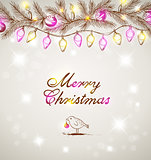 Christmas background with bird and decorations
