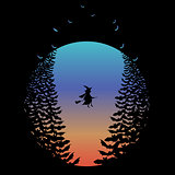 Halloween moon with witch and bats, vector