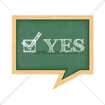 Blackboard with word Yes