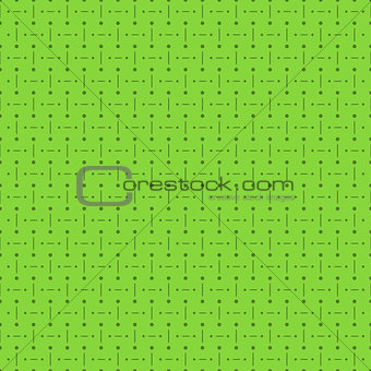 Green Seamless Pattern with Dots and Lines