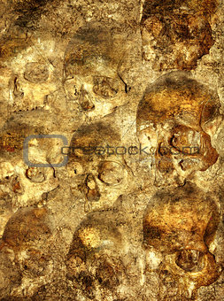 Background with human skulls