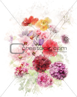 Watercolor Image Of Flowers