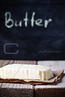 fresh butter and blackboard