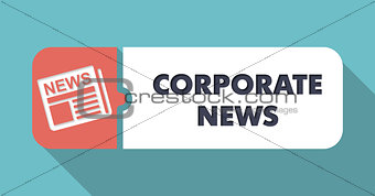 Corporate News on Blue Background in Flat Design.