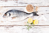Sea bream on white wooden background.