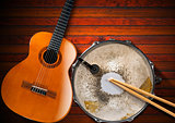 Acoustic Guitar and Old Snare Drum