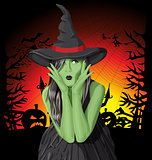 Vector green witch woman with hat on Halloween