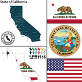 Map of state California, USA