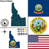 Map of state Idaho, USA