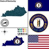 Map of state Kentucky, USA