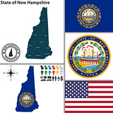 Map of state New Hampshire, USA