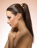 profile girl with ponytail