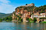 the Ebro River and the old town of Miravet, Spain