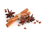Star Anise And Cinnamon Sticks  .