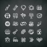 Icons Set of Car Symbols on Blackboard