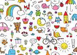 Seamless childish doodle