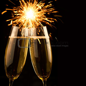 Beautiful golden champagne with sparklers - black square