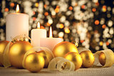 Warm Christmas decoration on glitter bokeh background