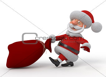3d Santa Claus with a bag