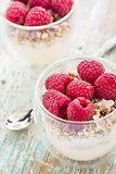 Yogurt with muesli and fresh raspberries