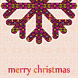 Christmas Greeting Card with Retro Snowflake