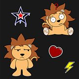 cute lion cartoon sticker set10