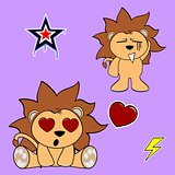 cute lion cartoon sticker set9