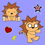 cute lion cartoon sticker set5