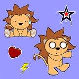 cute lion cartoon sticker set5