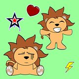 cute lion cartoon sticker set3