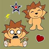 cute lion cartoon sticker set2