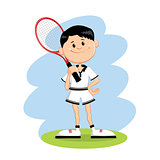 Cartoon character tennis player