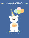 White teddy bear with cake and baloons. Greeting card Happy Birthday.