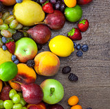 Background of Colorful Fruits with water drops