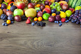 Big assortment of Fresh Organic Fruits, border composition