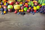 Big assortment of Fresh Organic Fruits, border composition