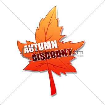 autumn discount in 3d leaf