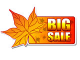 big sale autumn label with leaf