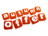 autumn offer - text in orange cubes
