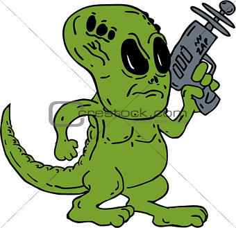 Alien Dinosaur Holding Ray Gun Cartoon