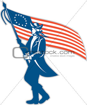 American Patriot Soldier Waving USA Flag Circle Retro