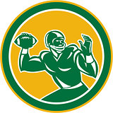 American Football Quarterback Circle Retro