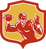 American Football Quarterback Shield Retro