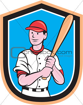American Baseball Player Bat Shield Cartoon