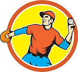 Baseball Pitcher Outfielder Throwing Ball Cartoon
