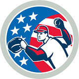 American Baseball Pitcher Throwing Ball Retro